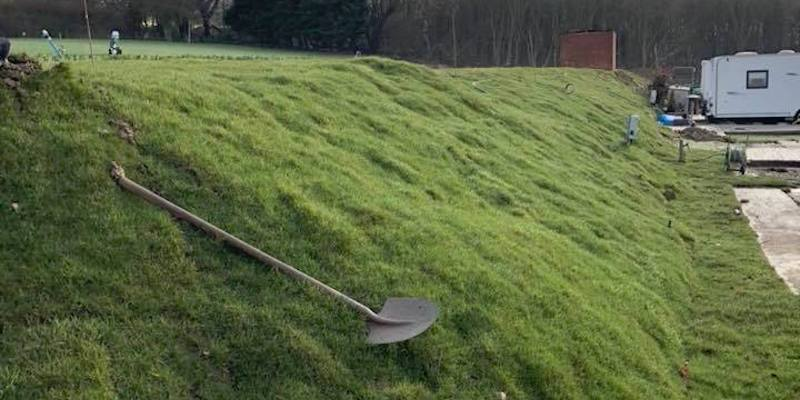 Turf laying in Kent on uneven embankment
